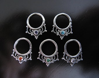 Silver Septum, Septum, Helix, Zircon Septum, Tribal plain Silver Septum, Ethnic tribal silver septum, Nose Ring