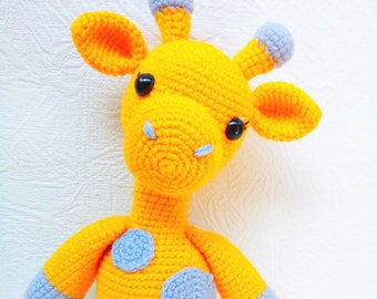 Amigurumi stuffed yellow giraffe Safari animal toy Nursery decor Zoo animal doll Special gift for baby birthday Handmade room decor