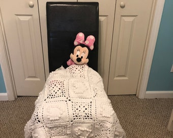 Granny Hearts Crochet Throw Blanket 30x40 Beautiful Hand Made