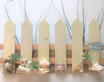 Seaside picket fence coastal wall hanging