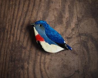 Dicée à poitrine broche, broche oiseau bleu, broche en cuivre émaillée, la nature inspiré, cadeau pour elle, broche oiseau mignon, cadeau pour la bonne chance de feu