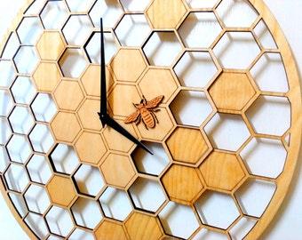 "Bee Cells, Laser cut, WALL CLOCK 15.7"" Diameter, Large wall clock, Wall Art, Big wall clocks, Large wooden wall clock, Clocks for sale"
