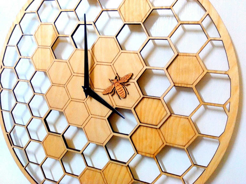 Bee Cells Laser cut WALL CLOCK 15.7 Diameter Large