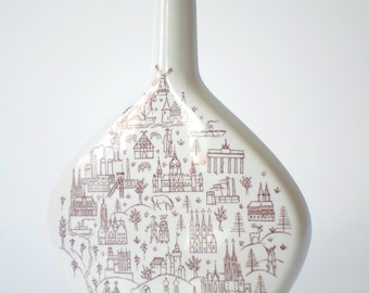 Printed Escorial Vase, print brandy bottle, print vase, city + land design, Escorial brandy bottle