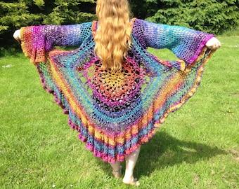 Handmade Festival Clothing Shawl, Boho Shawl, Hippy shawl, Beach Shawl Crochet Shawl, Mandala Shawl Gypsy Bohemian shawl,  British Seller UK