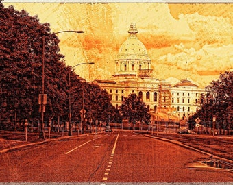 St Paul MN State Capital, digital fine art photo, wall art, home decor, Minnesota art, office art, local interest, st paul, nostalgia, urban