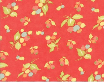 SALE - Coney Island - Blueberries in Candy Apple Red: sku 20286-12 cotton quilting fabric by Fig Tree and Co. for Moda Fabrics - 1 yard