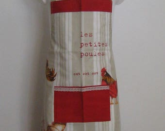 "Apron 6-10 years ""Hens"" cotton coated beige"