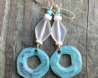 Earrings aqua blue ring with clear lucite