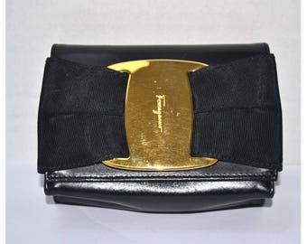 FREE Ship Salvatore Ferragamo Vara Bow Authentic Mini Clutch Crossbody Handbag Purse Bag Black Vintage Leather