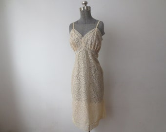 Vintage '50s/'60s Van Raalte Full Lace Overlay Slip w/ Side Metal Zipper, Small 34 - 36