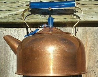 Canadian Copper & Cobalt--Delightful Vintage Teapot given new life as a Windchime