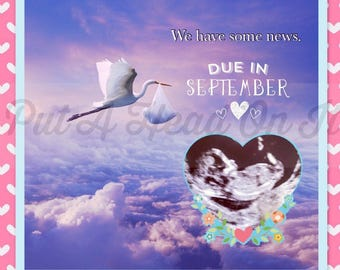Pregnancy Announcement / Boy or Girl / FREE Border & Month-Due Graphic / Expecting Mom / Put A Head On It