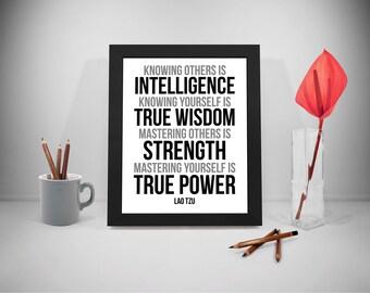 Knowing Others Is Intelligence, Lao Tzu, Lao Tzu Quote, Lao Tzu Art, Lao Tzu Print