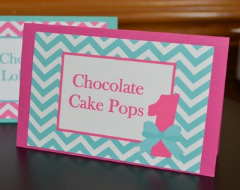 Chevron Table Tent Food Label Place Cards - Chevron Food Tents - Chevron Place Cards - Pink and Aqua  - Set of 6