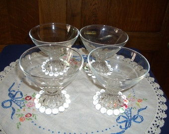 Four Vintage Anchor Hocking Clear Bubble Boopie Berwick Sherbets...Dessert Dishes