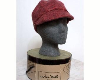 Felted Wool Newsboy Cap Red Tweed