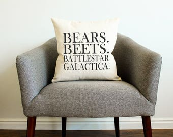 "Dwight Schrute The Office TV SHOW ""Bears. Beets. Battlestar Galactica"" Pillow - Gift for Her, Gift for Him, Home Decor, Husband Gift"