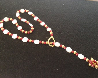 White Coin Pearl and Ruby Jade Lariat Necklace