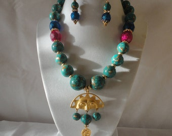 Roman Inspired Turquoise Gold Matte Sun Pendant Necklace.