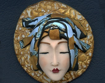 Asian Face cab with abstract Caned hat   OOAK Polymer clay Detailed  ASCR 2