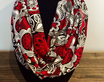 Red, white, and black floral infinity scarf
