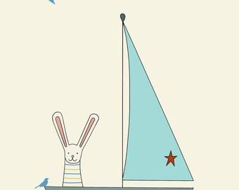 sail away print, fine art print by kate durkin