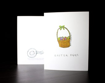 """5.5""""x4"""" Easter Eggs in a Basket Greeting Card"""
