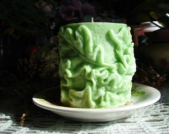 Squirrels & Acorns Candle Tray with an Oak Leaf Sculpted Pillar Candle