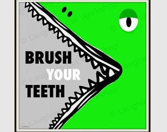Brush your Teeth art Alligator art Kid Bathroom Art print Health Education Poster Dentist art children bathroom decor Gator Crocodile art