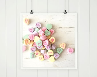 pastel valentine candy heart photo,  dreamy candy hearts print valentine art, pastel print, valentines day print sweetheart candy