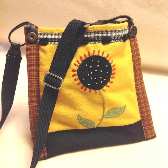 Handmade Bag, Boho, hobo, bohemian, Sunflower, recycled materials over the shoulder Purse, Free Shipping