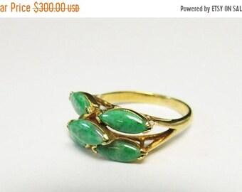 On Sale Vintage Estate  14K Translucent Apple Green Marquise Cut Jade Cluster Ring