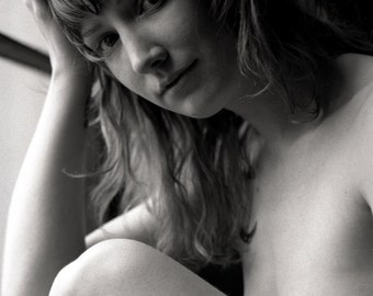 Naked art nude female portrait print taken with black and white film home decor - Contemplations in bw - 07