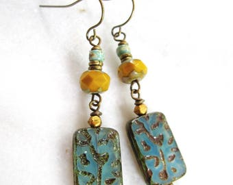 Bohemian Earrings, Turquoise Vine Rectangle, Hippie Earrings, Amber, Fall Earrings, Long, Nature  Inspired, Redpeonycreations