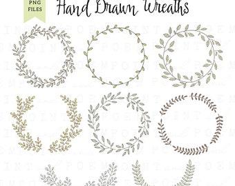 Wreath Clip Art: ''DIGITAL WREATH'' laurel wreath clipart, wedding wreath, scrapbooking, hand drawn, leaves - Commercial Use