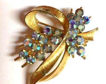 Vintage Blue AB Rhinestone Aurora Borealis Crystal Bouquet Brooch Pin