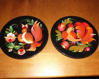 "Pair of Vintage Wood Wooden Plates 8.5"" Diameter Bird Floral Motif Bright Colors hand Painted Rosmalin?"