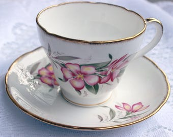 Salisbury Pink Magnolia Like Flower Teacup and Saucer