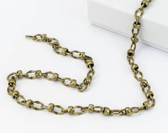 Antique Brass 6mm Hammered Satellite Chain #CC116