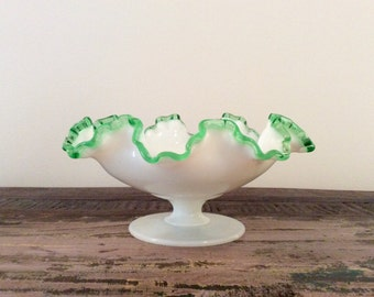 Vintage 1949-1955 Fenton White Milk Glass Emerald Green Crest Low Footed Comport