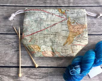 Exploring the World -- Project Bag -- Drawstring Knitting Bag -- Yarn Bag -- Crochet Bag