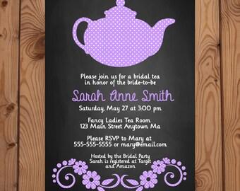 Bridal Shower Tea Party Invitation - Purple Tea Party Invitation - Bridal Shower Invitation - Digital Invitation - Printable Invitation
