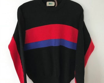 Vintage REI blue and red striped black sweater