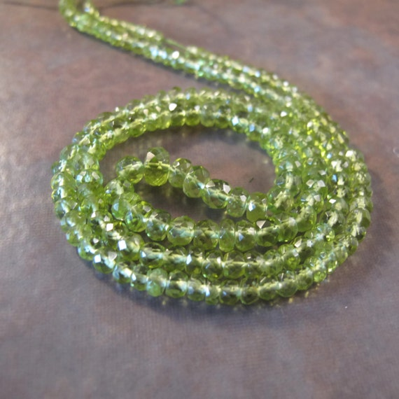 Green Peridot Rondelle Beads, 2.5mm - 4mm, Graduated 16 Inch Strand With over 144 Natural Green Gemstone Beads (R-Pe3)