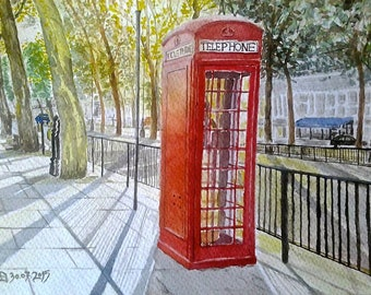 """Past & Present"" Watercolor of a London telephone booth."