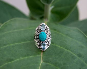 Turquoise Ring, Turquoise and Blue Topaz Ring Sterling Silver, Statement Ring, Boho Ring, Turquoise Jewelry, Blue Stone Ring, Southwestern