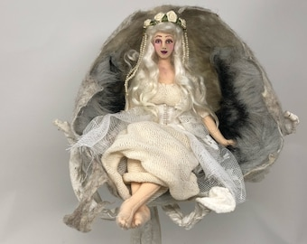 Snow Maiden cloth art doll Fairytale wet felt snow cave soft sculpture