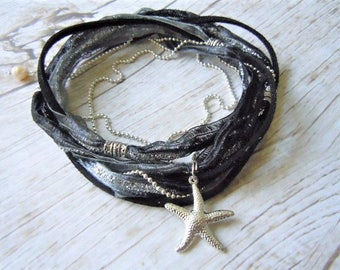 Starfish Anklet, Ankle Wrap, Yoga Anklet, Beach Jewelry, Gift For Her, Boho Jewelry, Yoga Accessories, Black, Silver, Boho Anklet, Yoga Gift