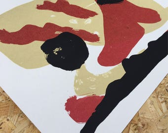 Abstract Screen Print - Sand, Red & Black
